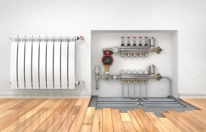 Underfloor heating with collector in the room