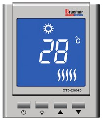 Braemar Digital Manual Thermostat Controller with Braemar Logo on White Background