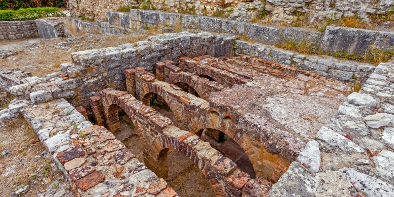 Hypocaust structure used to heat water in Roman baths.